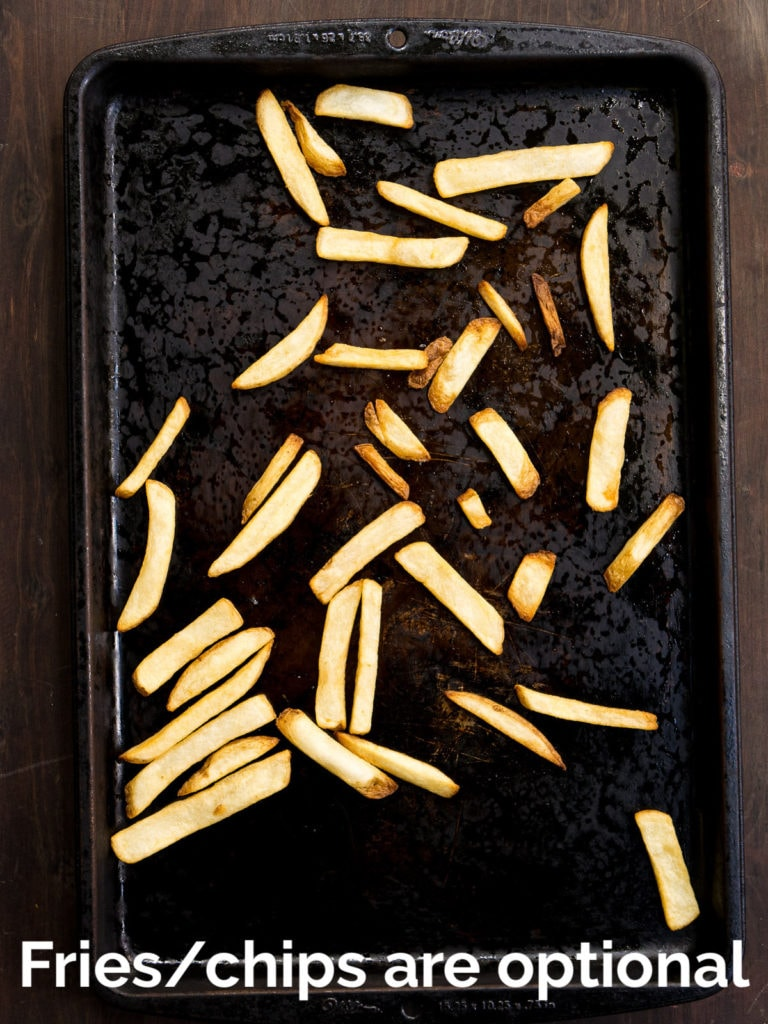 Fries baked on a baking sheet