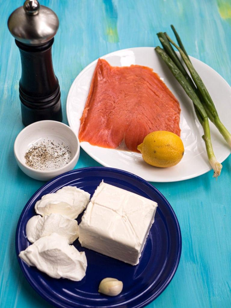Ingredients for smoked salmon dip recipe