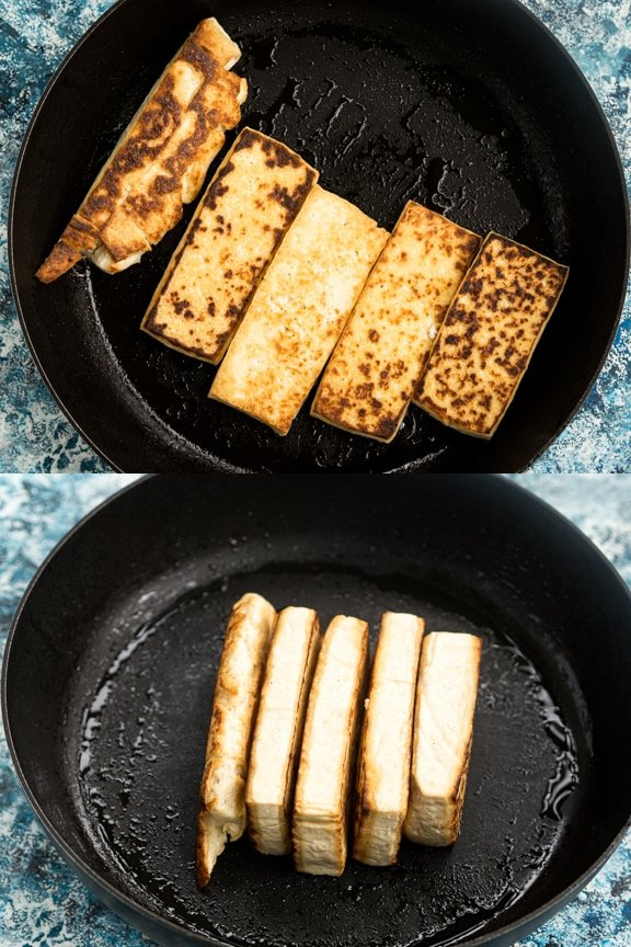 A comparison of pressed tofu frying in a pan