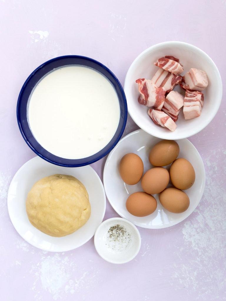 Ingredients for quiche lorraine