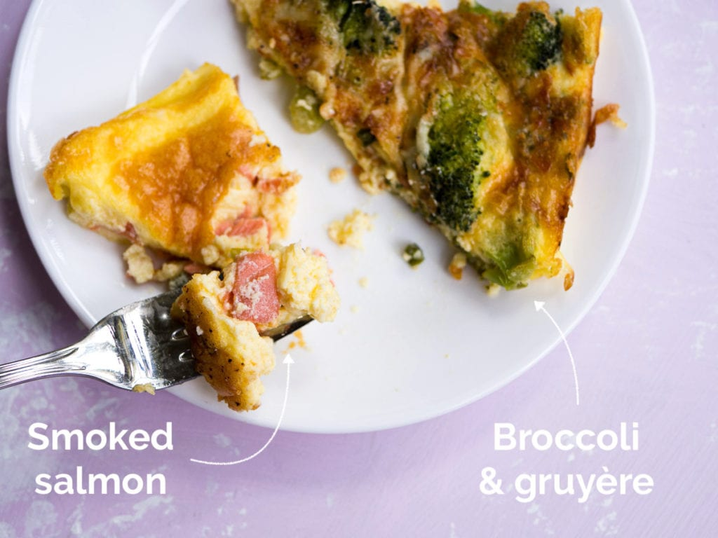 A slice of smoked salmon crustless quiche next to a slice of crustless broccoli and gruyère quiche