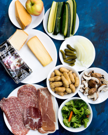 All ingredients required for making raclette