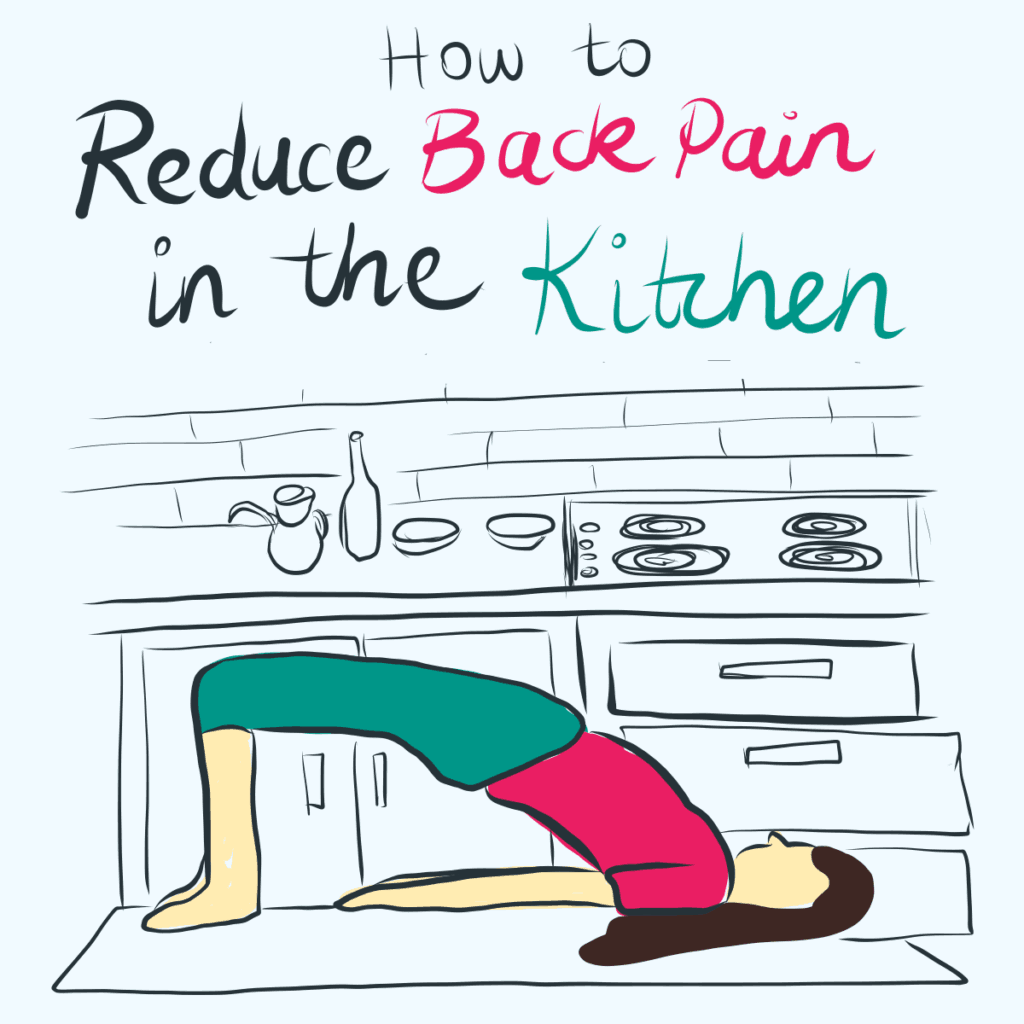 illustration with girl in bridge yoga pose in the kitchen
