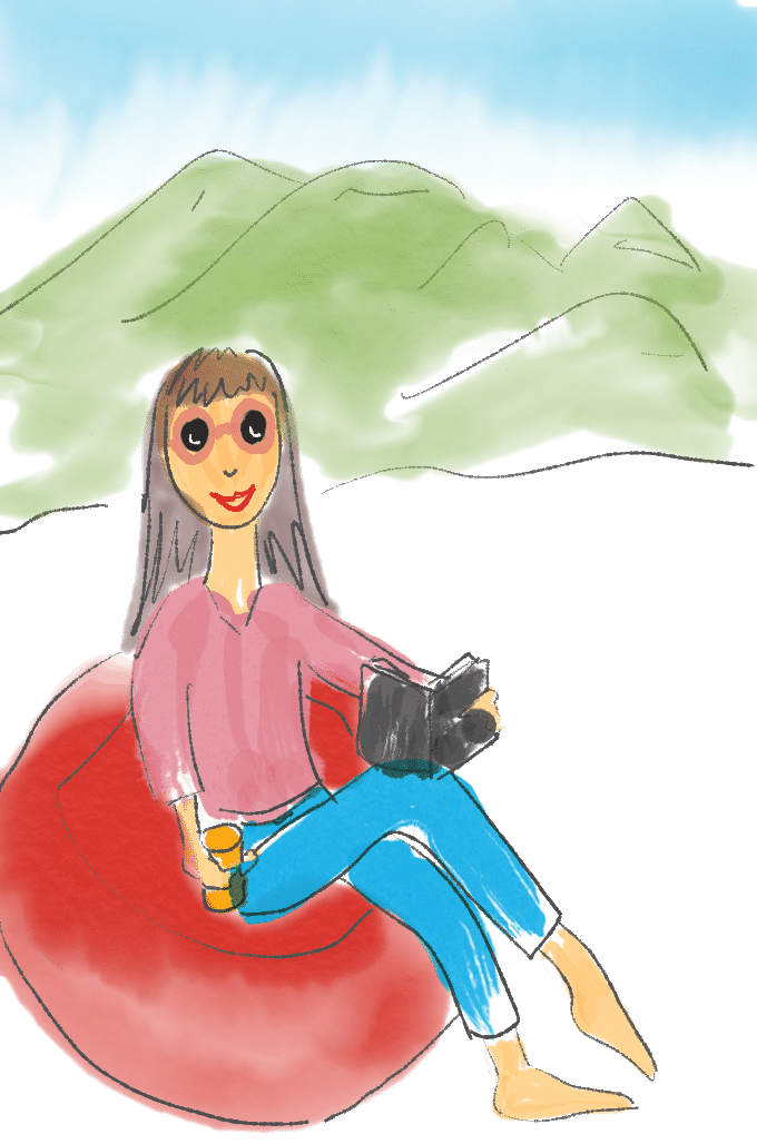 Relax time Illustration with person sitting on red bean bag reading book, mountains and rivers in the background.