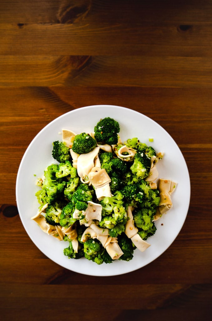 Spicy Tofu and Broccoli Salad with Green Onion & Garlic Dressing