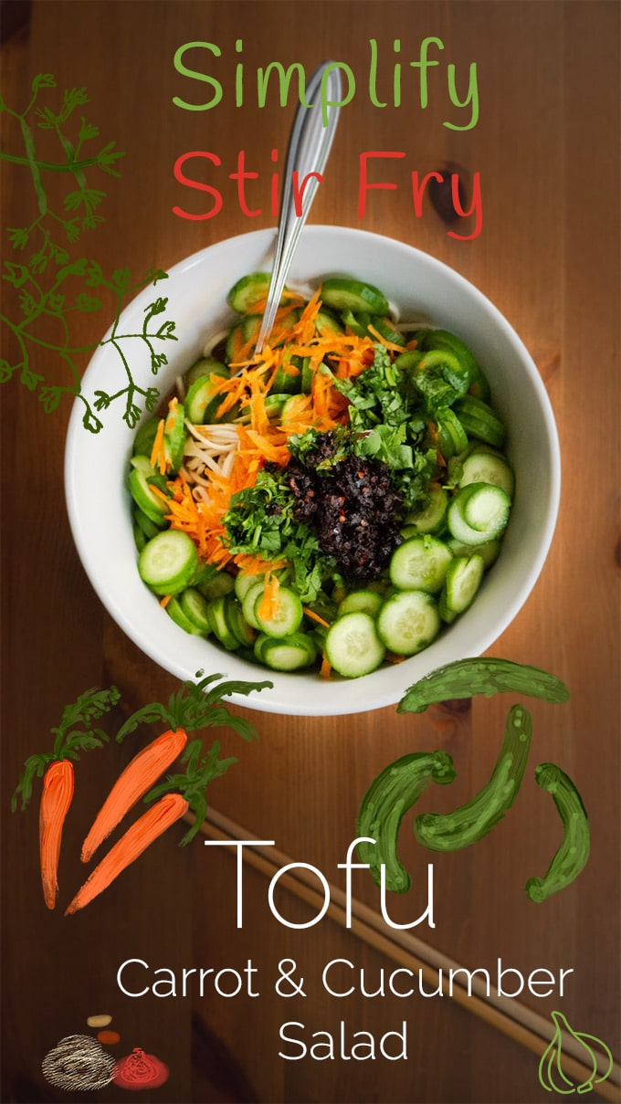 How to Make Tofu Noodle Salad with Carrot and Cucumber -- The best part of this tofu noodle salad recipe is that it really hits the spot when I'm looking for a quick meal that's low carb and high flavor. Plus, it's a no-cook recipe. After a long day of working and commuting, you can get excited by this dish, especially because of how little mental energy you need to make it.