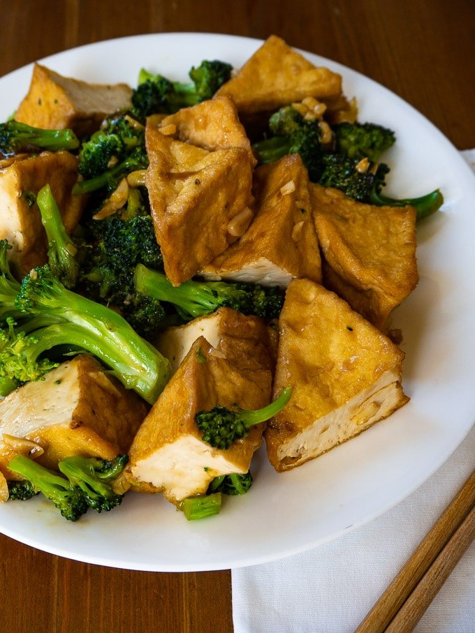 Tofu and Broccoli Stir Fry with Garlic, Ginger, and Hoisin Sauce close up