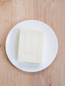 Block of silken tofu cut into cubes