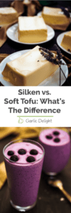 Silken vs. soft tofu: What's the difference Pinterest long pin with two images, one tofu and one berry smoothie