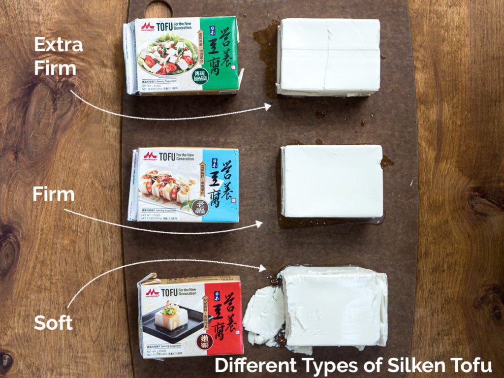 Side-by-side comparison of 3 types of silken tofu