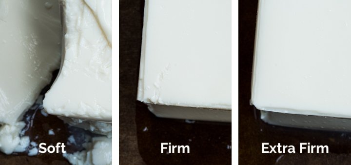 Close up comparison of 3 types of silken tofu