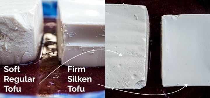 Close up comparison of soft block tofu versus firm silken tofu