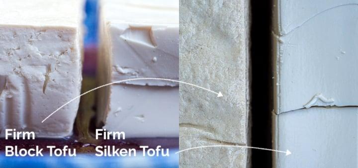 Close up comparison of firm tofu versus silken tofu