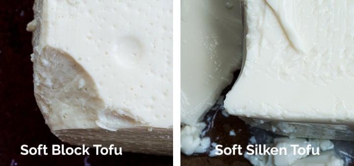 Close up comparison of soft tofu versus silken tofu