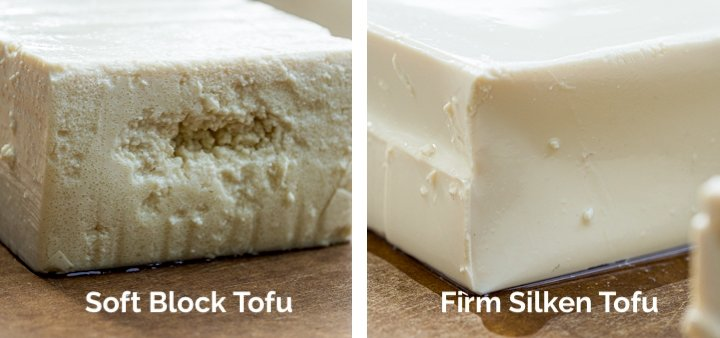 Close up side-by-side comparison of soft block tofu versus firm silken tofu