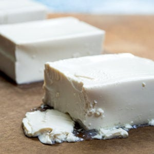 Close up look at a block of silken tofu