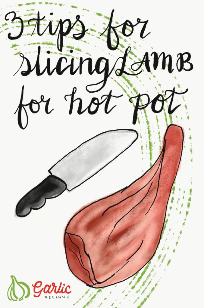 3 Tips For Slicing Lamb For Hot Pot. Illustration from garlicdelight.com.