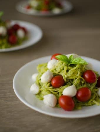Pesto Spaghetti Squash with Mozzarella & Cherry Tomatoes
