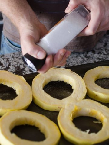 Sprinkle generously with a lot of salt on each ring
