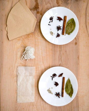 Ingredients for making spice sachets from coffee filters and tea filter bags