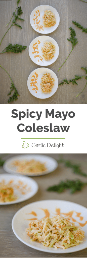 Spicy Mayo Coleslaw -- Elevate your traditional coleslaw recipe with spicy mayo with this EASY and tasty recipe. You'll LOVE it. | garlicdelight.com.
