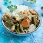Thai Green Curry with Tofu and Vegetable in white bowl