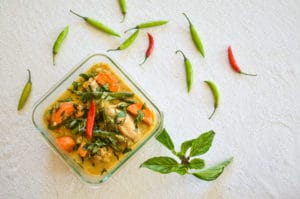 Thai Green Curry with Sweet Potatoes Chicken overhead shot