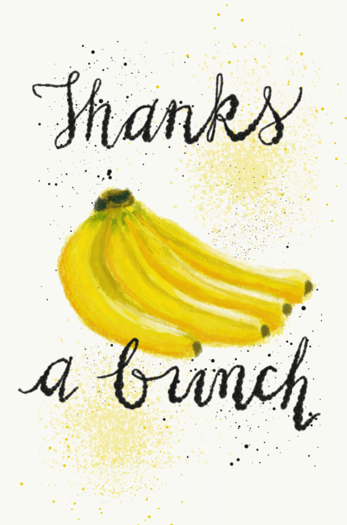 Thanks a bunch with illustration of a bunch of bananas (food pun). Illustration from garlicdelight.com.