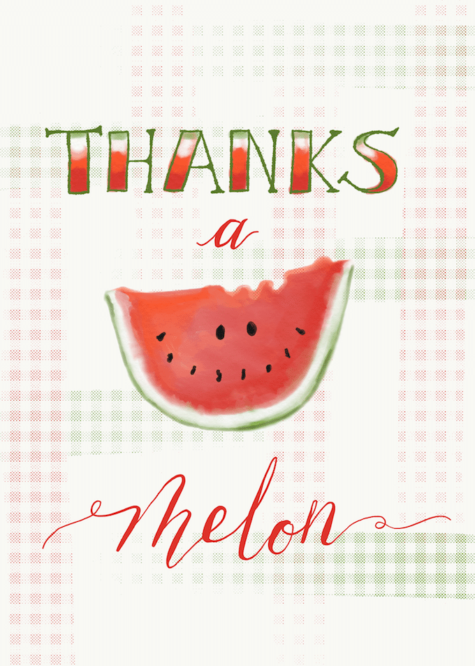Thanks a melon illustration with a watermelon slide
