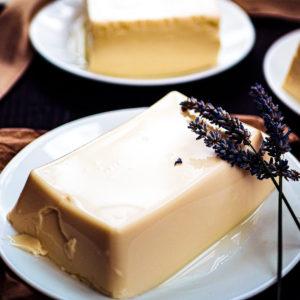 White block of silken tofu with lavender