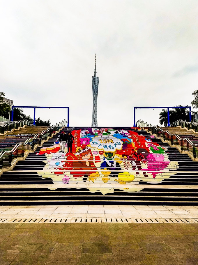 Canton Tower with Chinese New Year illustration in Guangzhou