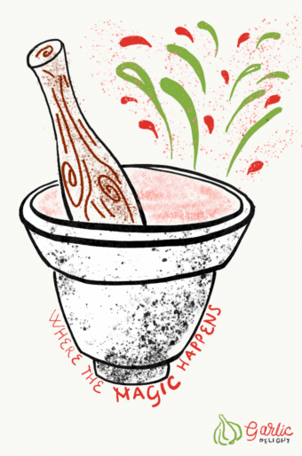 Where The Magic HappensIllustration with mortar and pestle and colorful specks, from garlicdelight.com.