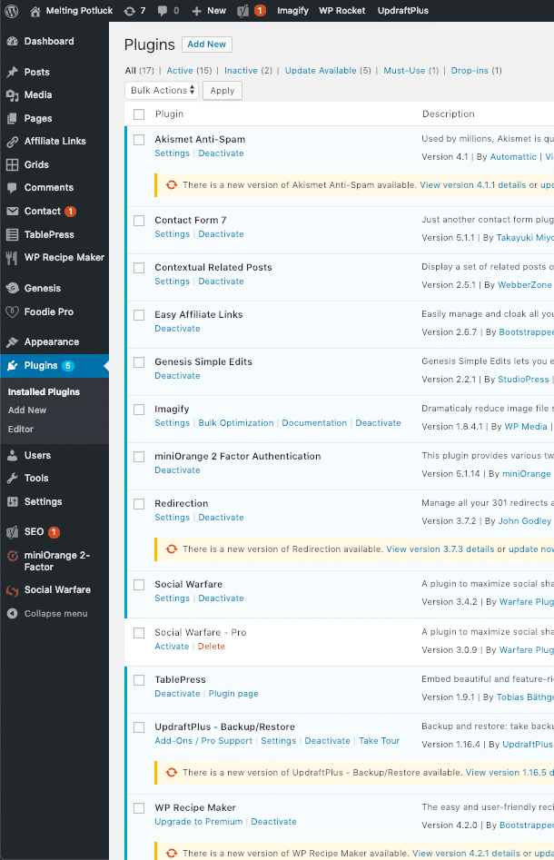 List of WordPress plugins from my website