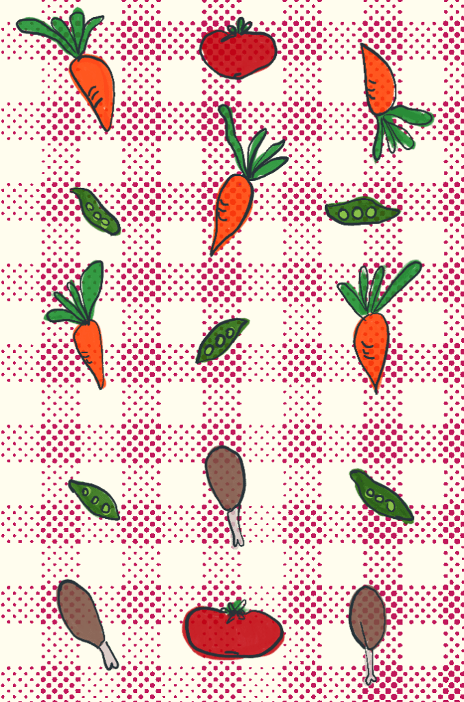 Batch Cooking illustration with carrots, beans, drumsticks, and tomatoes