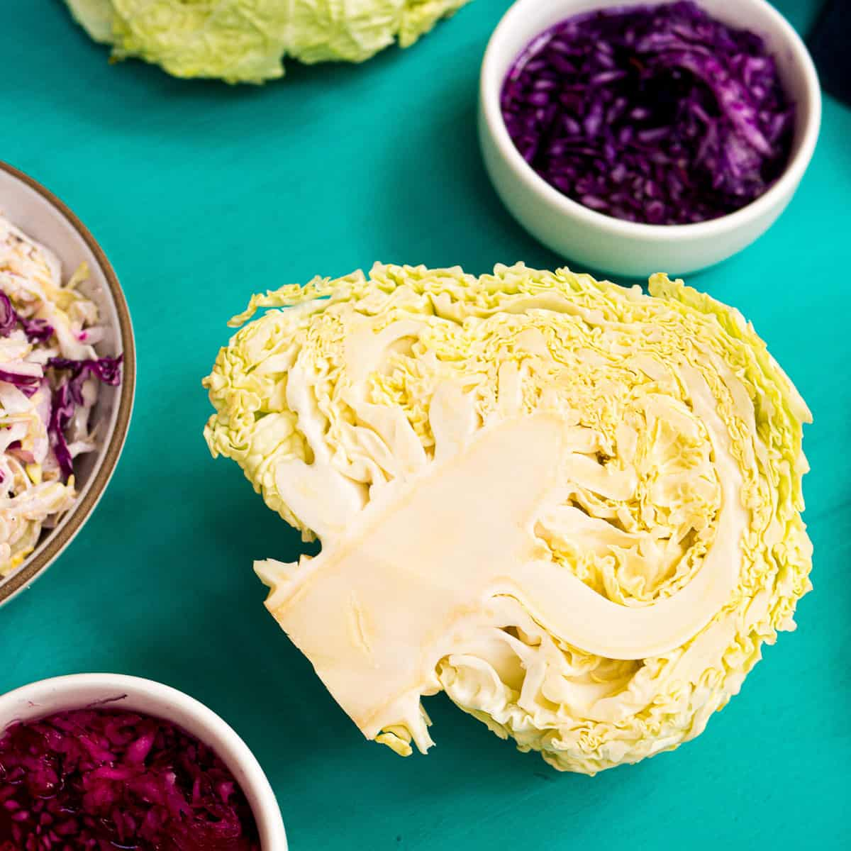 A savoy cabbage cut in half