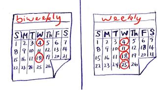 calendar biweekly versus weekly cartoon