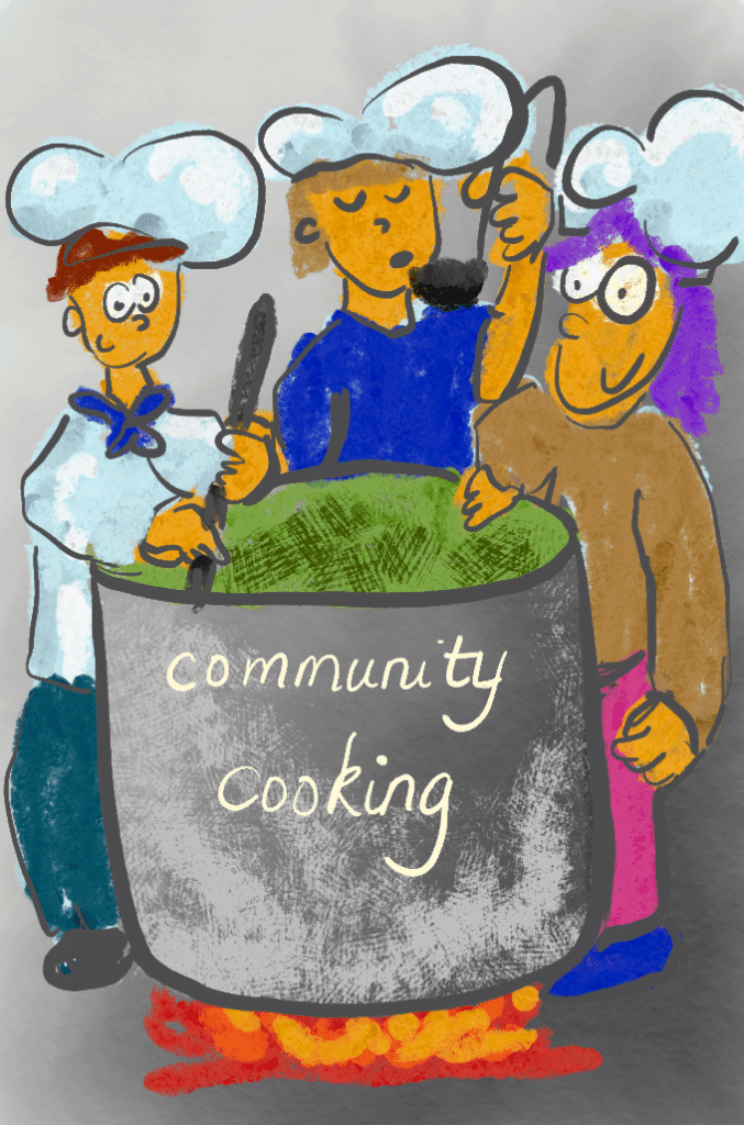 Community cooking illustration with 3 cooks around a big pot of green goo.