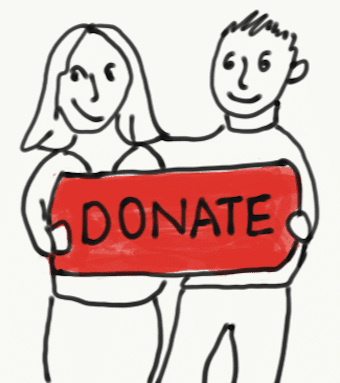 "Cartoon of two people holding a ""Donate"" sign. Stories from garlicdelight.com."