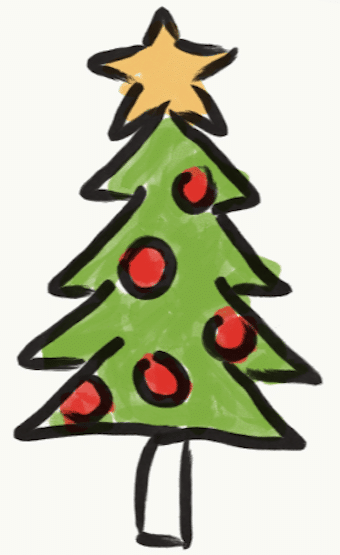 Cartoon of Christmas tree. Stories from garlicdelight.com.
