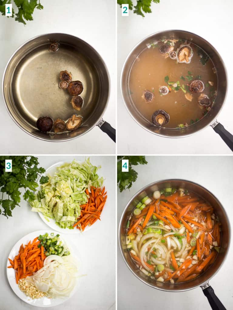 Image collage of 4 steps to boiling and chopping vegetables and mushrooms for noodle soup
