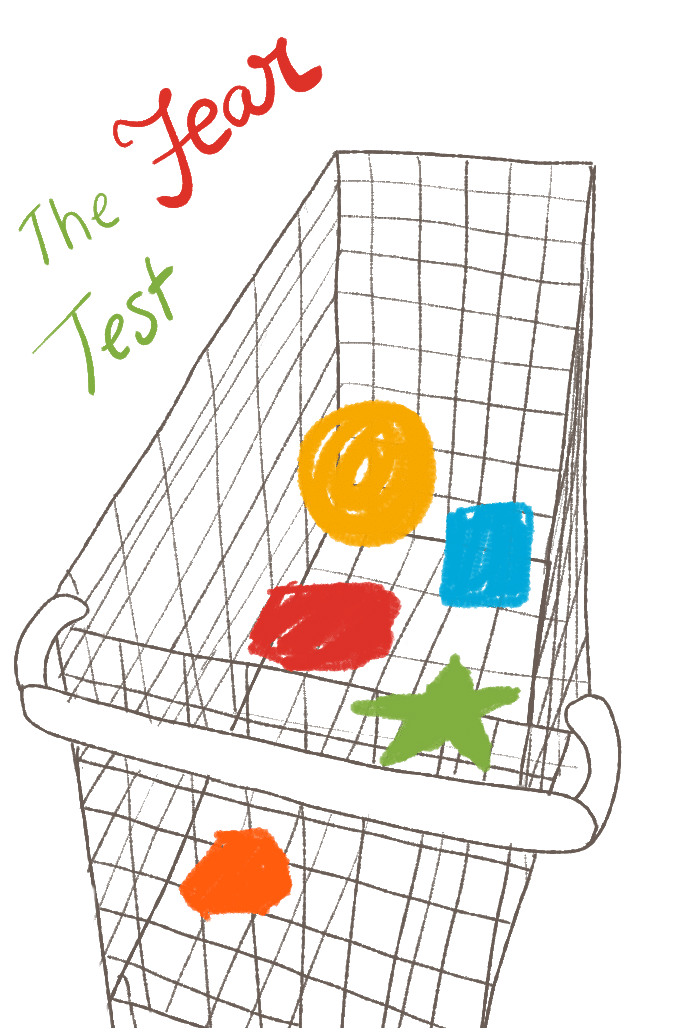 The fear test illustration of a shopping cart with shapes inside.