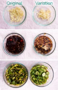 3 images that show how to make the garlic dressing