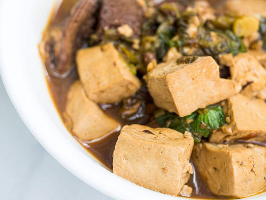 Braised tofu with bits of beef and green onion in a white bowl