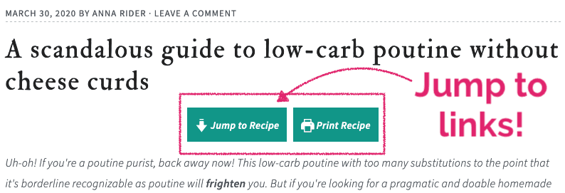 Annotated image of how to use the jump to recipe buttons