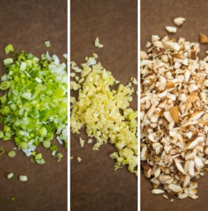 3 images of chopped green onions, chopped garlic, and chopped mushrooms
