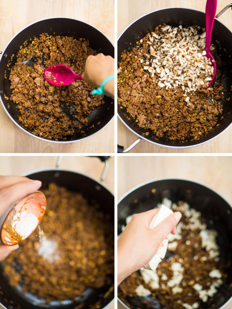 4 images of cooking ground meat with soy sauce, adding mushrooms, and adding crumbled tofu
