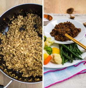 2 images of the finished mushroom meat sauce in a pan and served next to steamed vegetables