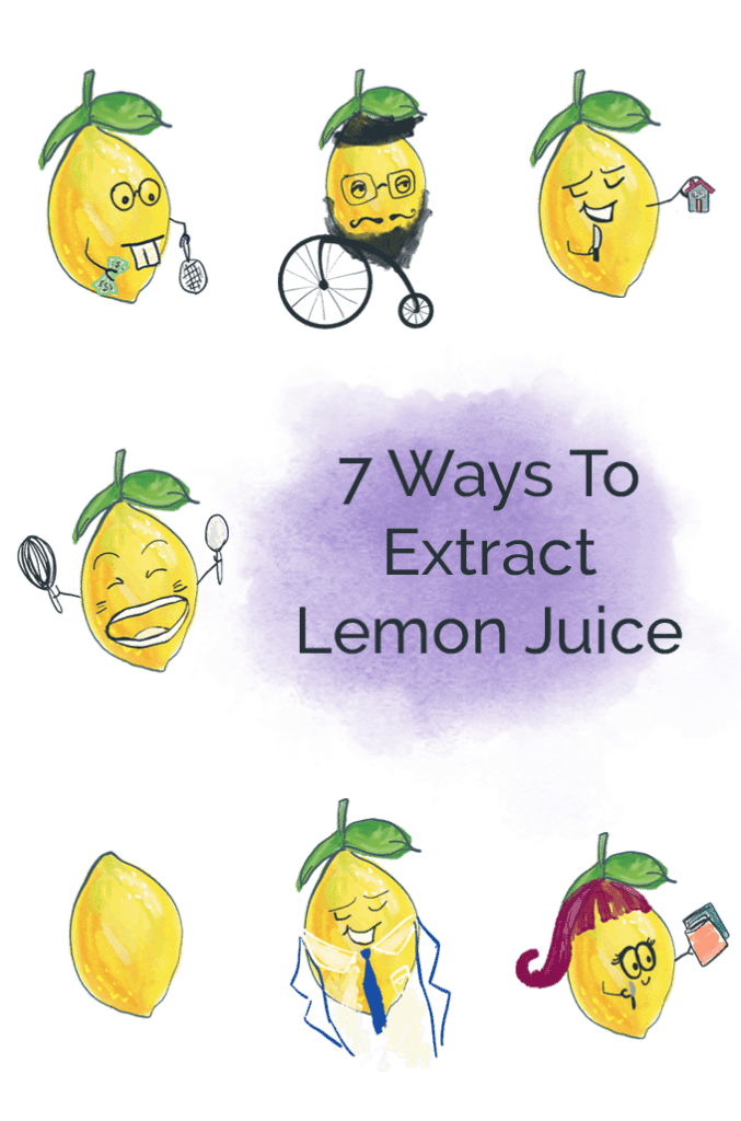 Illustration of lemon juice characters in a grid collage