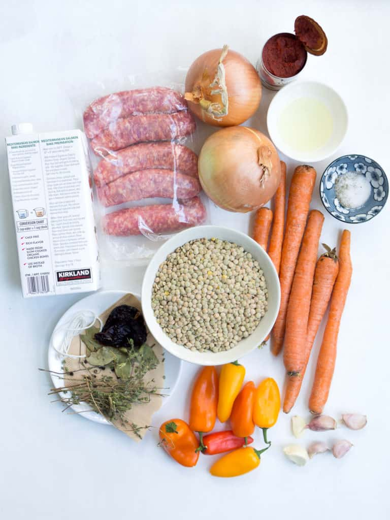 Ingredients for making lentil sausage soup