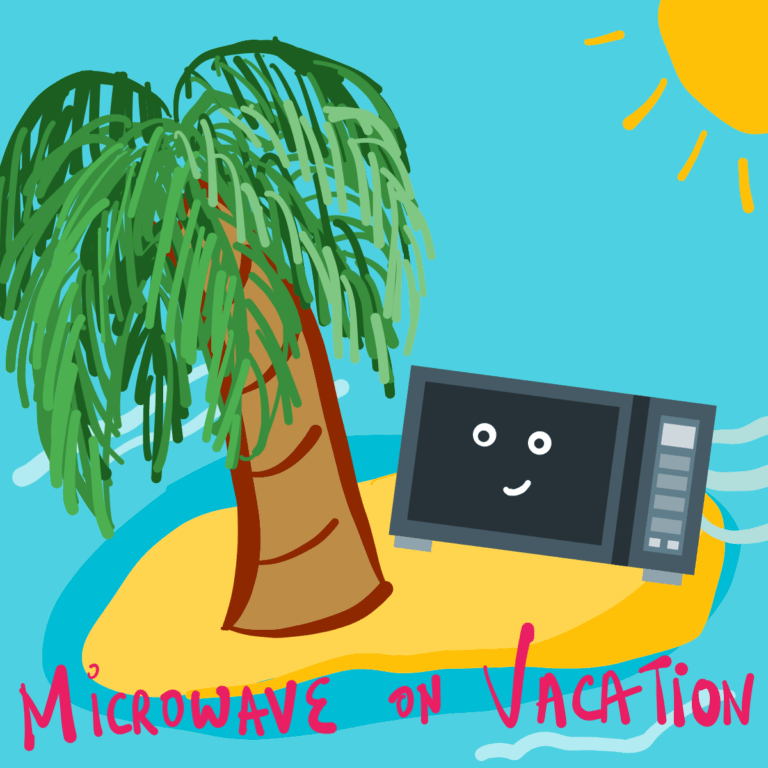 An illustration of a microwave on a beach